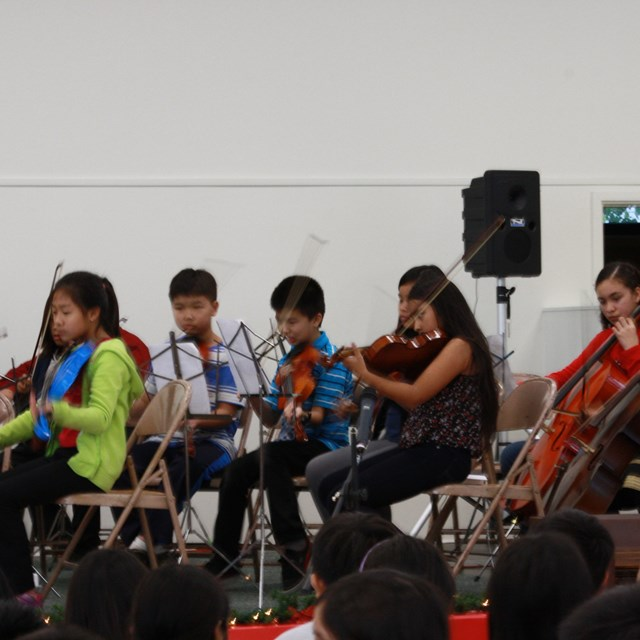 Our talented students enjoy participating in the school's orchestra!