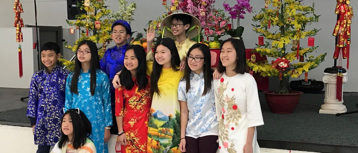 Students wear traditional clothing to celebrate the Lunar New Year!