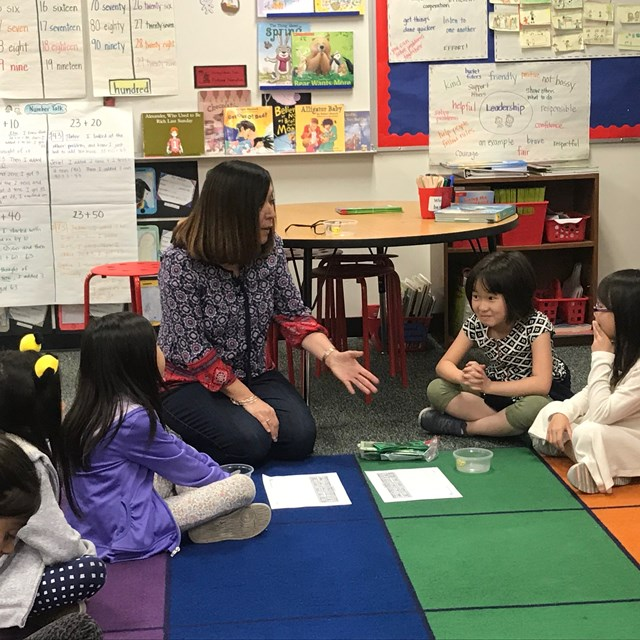 One of our second grade teachers leading an IMP conceptual lesson.