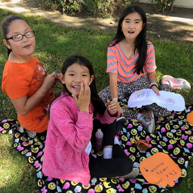 "Our fourth graders had fun reading the stories they made during their ""Book-nic."""