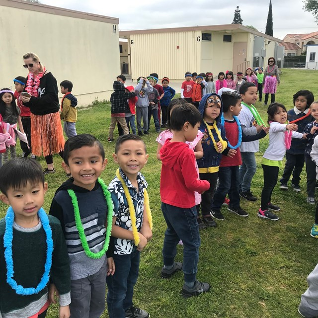 Everyone getting ready to have fun during our Hawaiian-themed Jog-a-Thon!