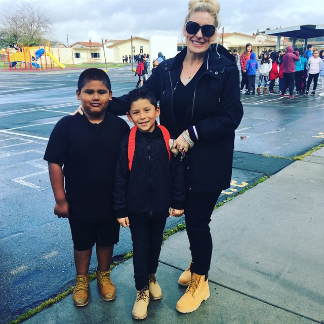 Our teacher and her students were matching for Twin Day.