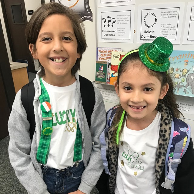 Two of our students dressed up for St. Patrick's Day.